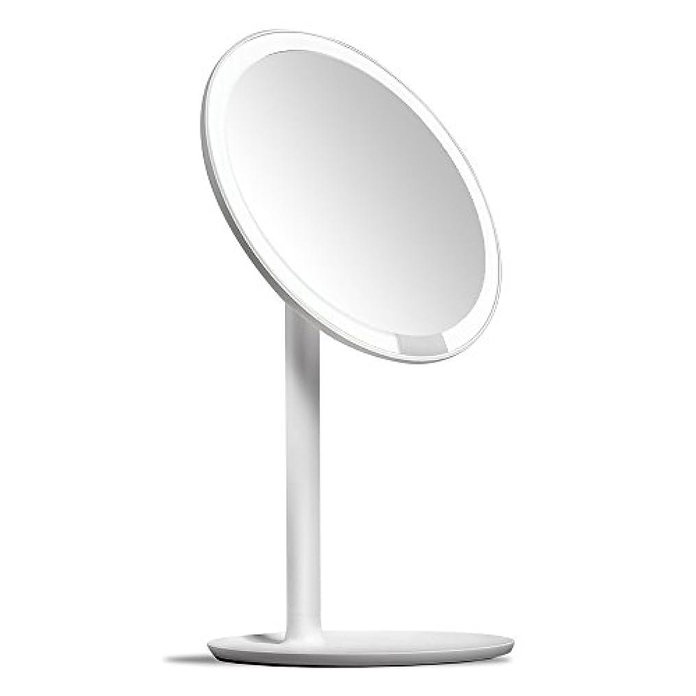 プロフィール辛い無しAMIRO 化粧鏡 化粧ミラー LEDライト付き 卓上鏡 女優ミラー 3段階明るさ調節可能 コードレス 充電式