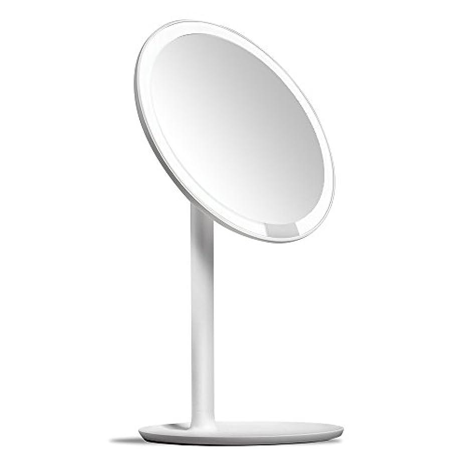 ファウル速記クレデンシャルAMIRO 化粧鏡 化粧ミラー LEDライト付き 卓上鏡 女優ミラー 3段階明るさ調節可能 コードレス 充電式