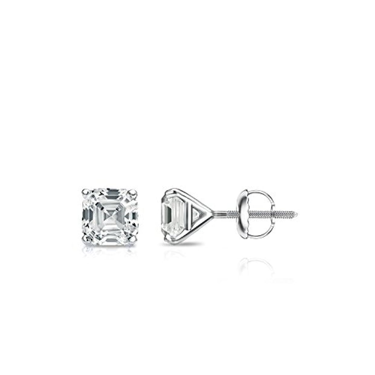 計算可能一晩フォーム14 Kホワイトゴールド4プロングMartini Asscherダイヤモンドメンズスタッドイヤリング( 1 / 2 – 2 ct、Oホワイト、i1 - i2 ) screw-back