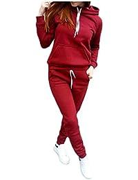 Fly Year-JP 女性のジョガーの衣装は、トレーナーとスウェットパンツ2ピーススポーツセットをフード