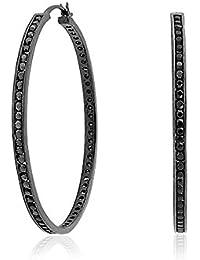 黒の立方ジルコニア CZ 1.5 インチフープブラックロジウムめっきが施されたスターリングシルバー