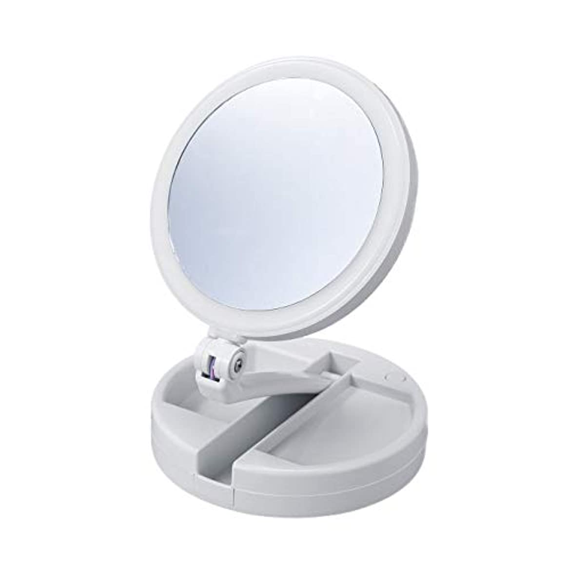 微生物ビル無したためる10倍拡大鏡付きの2面ミラー(ライト付) 卓上 スタンドミラー 化粧鏡 メイク 小物入れ