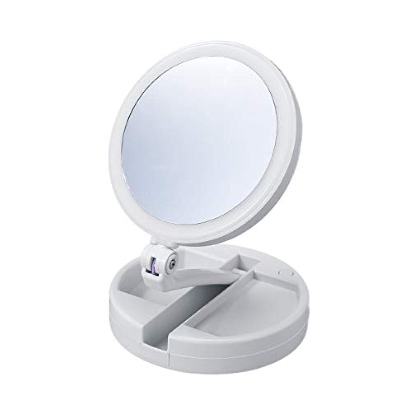 熱有名減衰たためる10倍拡大鏡付きの2面ミラー(ライト付) 卓上 スタンドミラー 化粧鏡 メイク 小物入れ