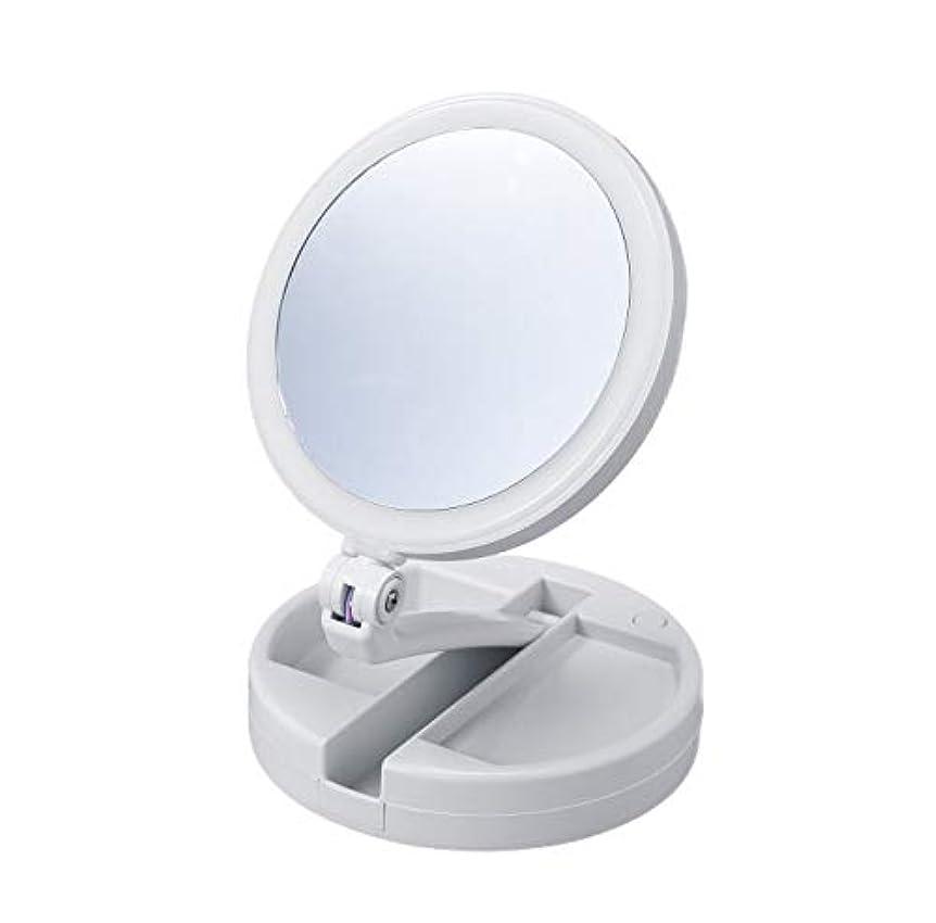 記者ヒューマニスティック血たためる10倍拡大鏡付きの2面ミラー(ライト付) 卓上 スタンドミラー 化粧鏡 メイク 小物入れ