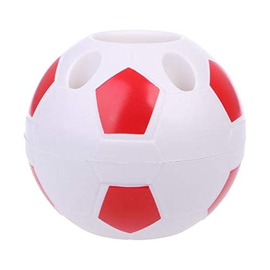 特異な勝利巻き戻すCRRB クリエイティブサッカーペンホルダー歯ブラシコンテナ多機能オフィスオーガナイザー (Color : Red)