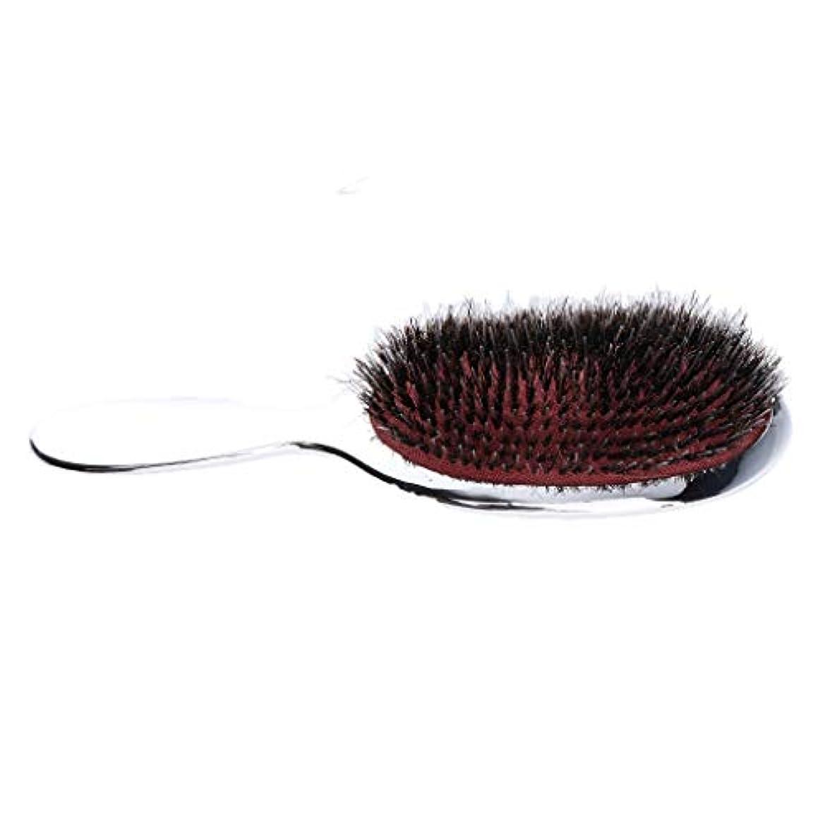 豆ばか喪男性の胸毛のナイロン毛のひげ口ひげの手のハンドルdetanglerの櫛 - シルバー