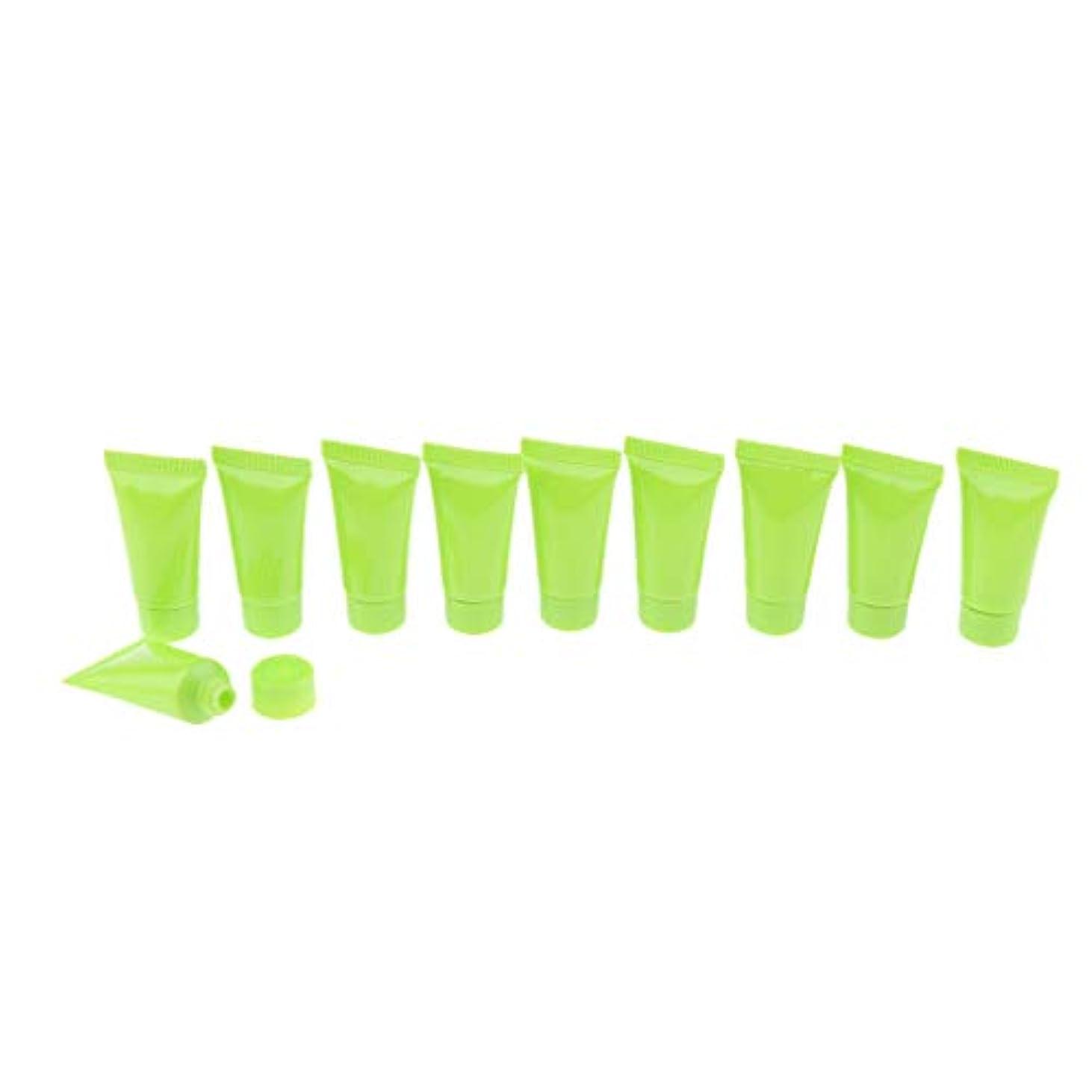 債務セットアップかもめFutuHome 10x空の化粧品の管の構造のクリーム色の容器のびん5ml - 緑