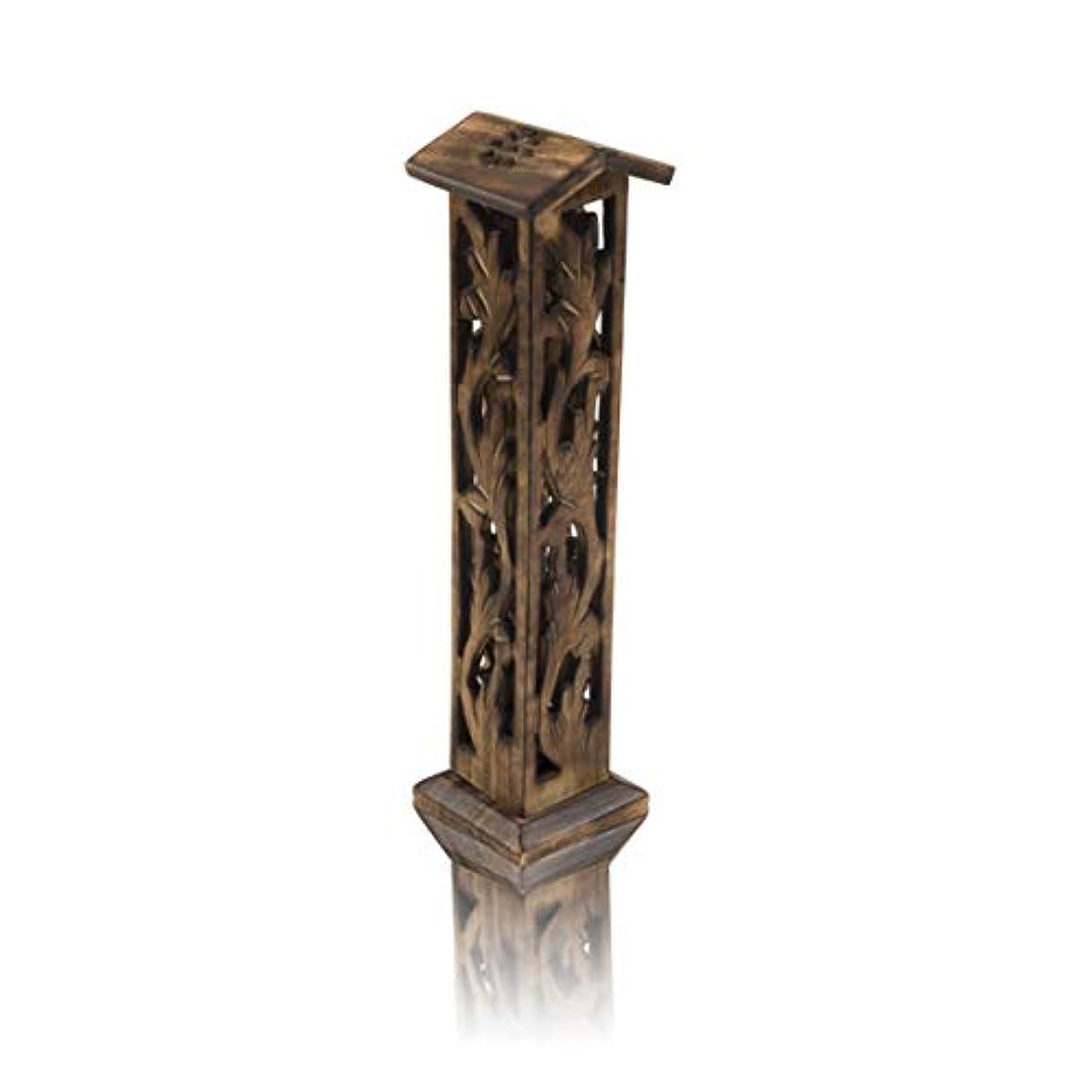 臭い防衛クリープ木製お香スティック&コーンバーナーホルダー タワー ラージ オーガニック エコフレンドリー アッシュキャッチャー アガーバティホルダー 素朴なスタイル 手彫り 瞑想 ヨガ アロマセラピー ホームフレグランス製品