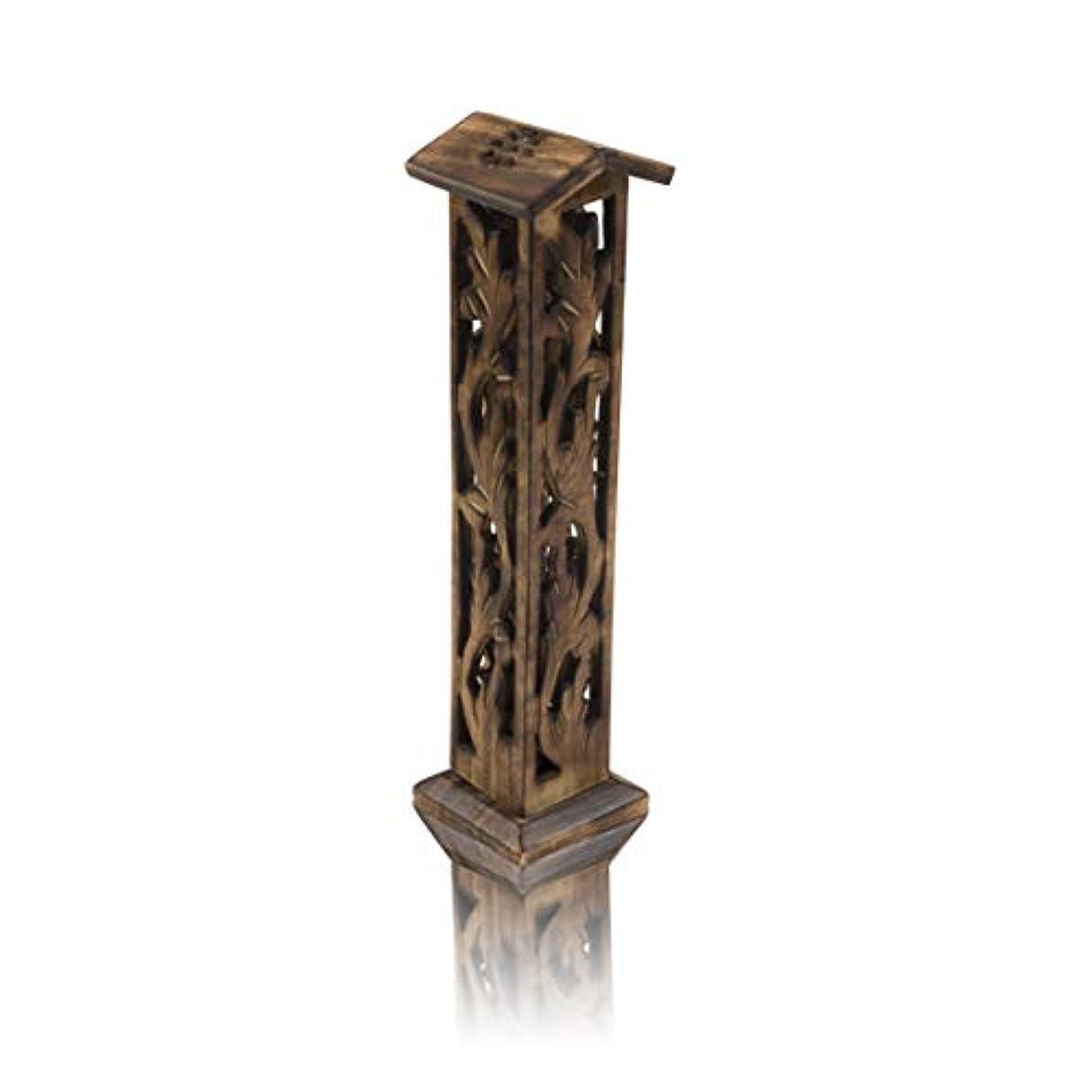 その転倒数学者木製お香スティック&コーンバーナーホルダー タワー ラージ オーガニック エコフレンドリー アッシュキャッチャー アガーバティホルダー 素朴なスタイル 手彫り 瞑想 ヨガ アロマセラピー ホームフレグランス製品