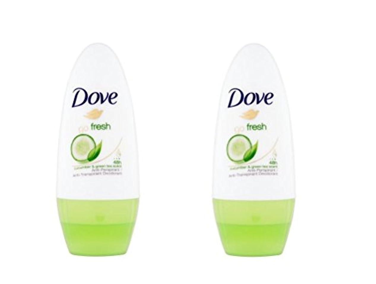 前投薬武装解除雪だるまDove Go Fresh Cucumber & Green Tea Scent Anti-perspirant Deodorant Roll-on 50ml (1.7 Fluid Ounce). (Pack of 2)...