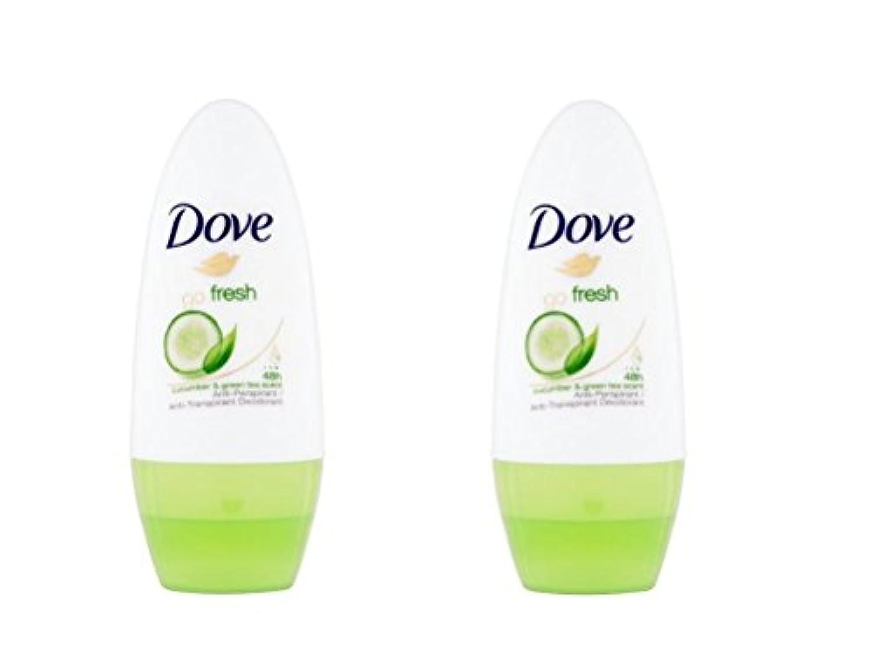 新鮮なキュウリロールオン制汗デオドラント50ミリリットルを行く鳩 x2 - Dove Go Fresh Cucumber Roll-On Anti-Perspirant Deodorant 50ml (Pack of 2...