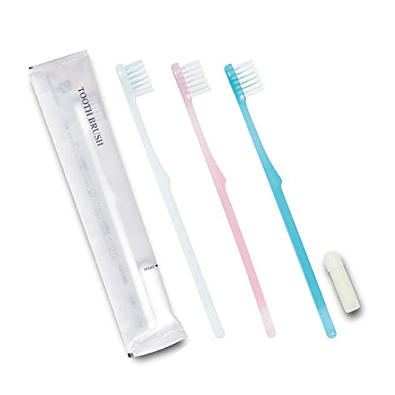 判決本質的ではない水没ホテル業務用歯ブラシ24穴(白・ブルー・ピンク)3色アソート 3gチューブ マット袋Sタイプ 30本