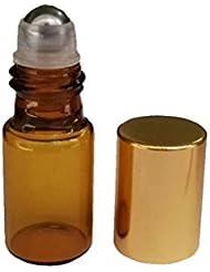 HugeStore 15 Pcs 5ml Refillable Amber Glass Rollerball Bottles Empty Essential Oil Glass Roller Bottles for Aromatherapy...