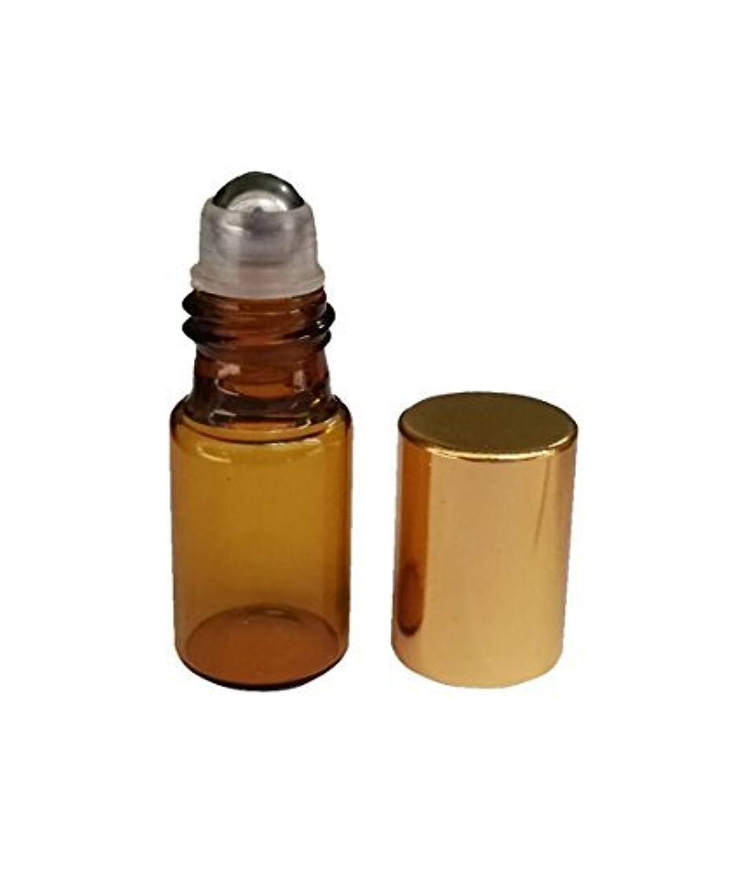 習熟度シャトル奴隷HugeStore 15 Pcs 5ml Refillable Amber Glass Rollerball Bottles Empty Essential Oil Glass Roller Bottles for Aromatherapy...