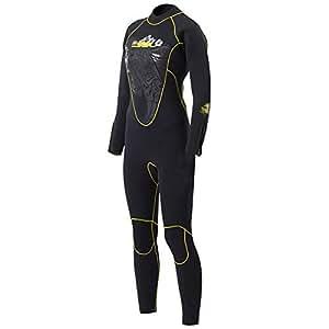 MORGEN SKY ウェットスーツ レディース 5mm フルースーツ 手足ファスナー付 サーフィン ダイビング バックジップ仕様 1107(女,S)