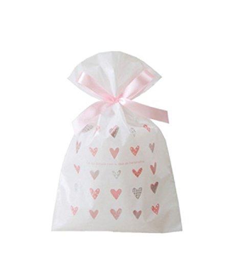 KANARIA 選べる ラッピング 袋 10枚入 / ギフト 包装 バッグ / プレゼント 贈り物 / 巾着 リボン 付 / 14.8×23.5×6㎝ / 桜 ピンク グリーン ハッピーバースデー (ハート)