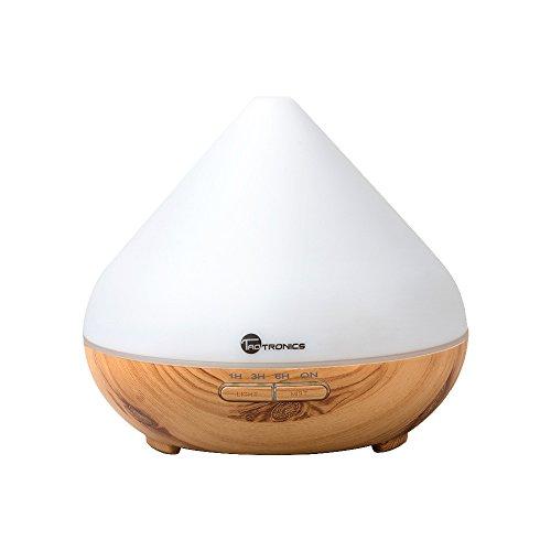 アロマディフューザー 加湿器 超音波 TaoTronics 七色LED 300mlタン 卓上加湿器 木柄 木目調 空焚き防止機能搭載 タイマモード 【一年間安心保証】 ミスト調整可能 TT-AD002 (白)
