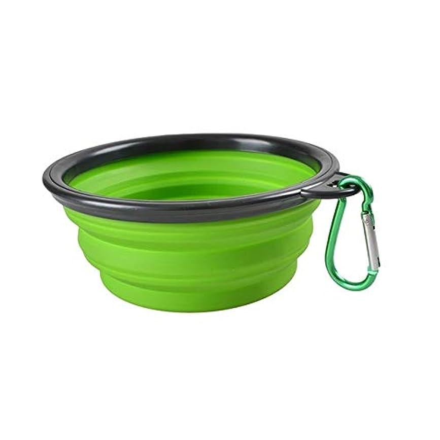 YMF ポータブルペット折り畳み式給餌ボウルシリコンウォーターディッシュフィーダー子犬トラベルボウル、ランダムカラーデリバリー、ボウル直径:13cm (色 : Mint Green)
