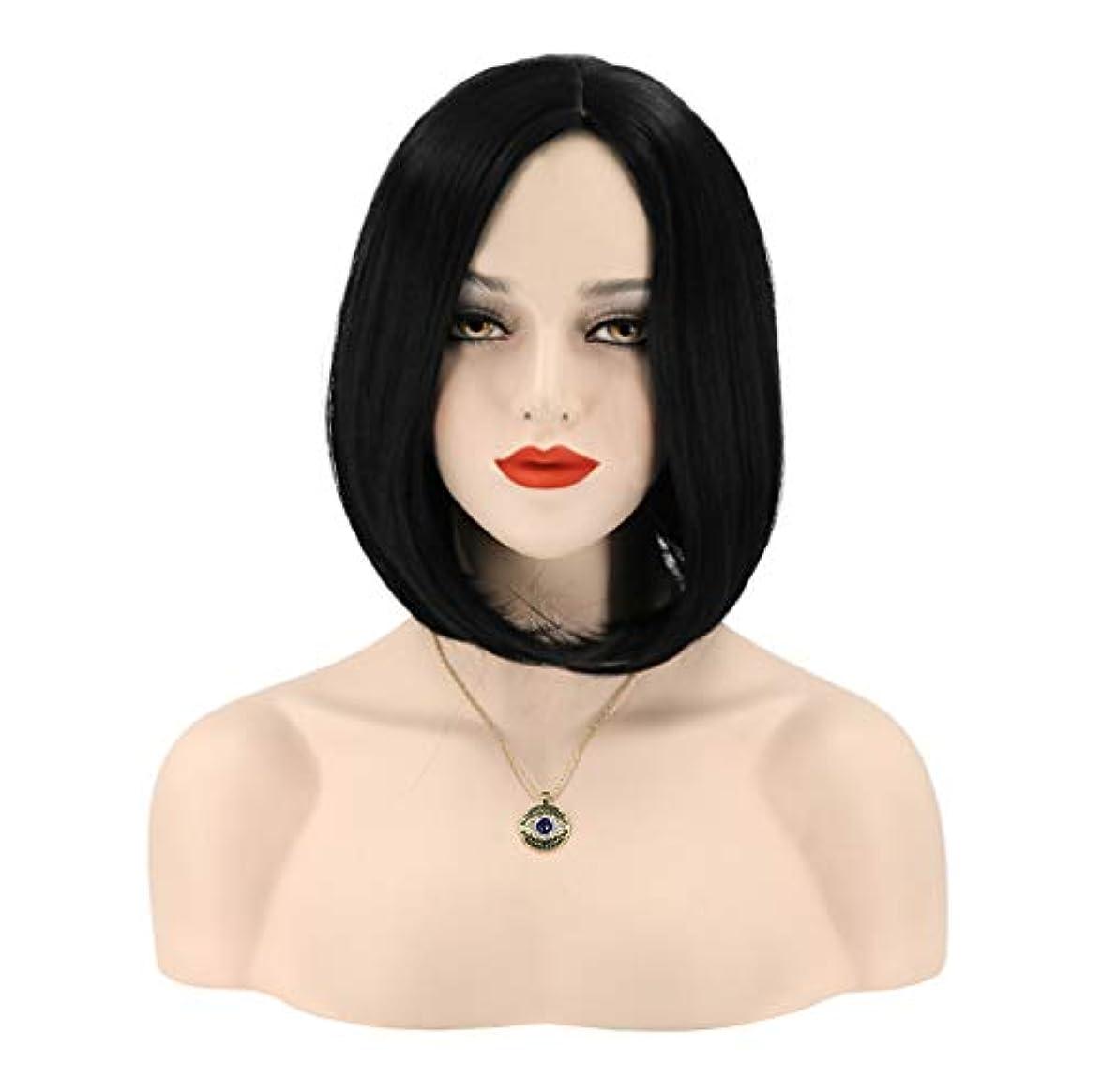 人柄健全知る女性かつらボブストレート人工毛ウィッグ耐熱繊維グルーレス髪用デイリーパーティー150%密度30cm