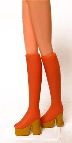 1/6 厚底ブーツ・超タイト(赤茶+靴底おうど色) DW-63017