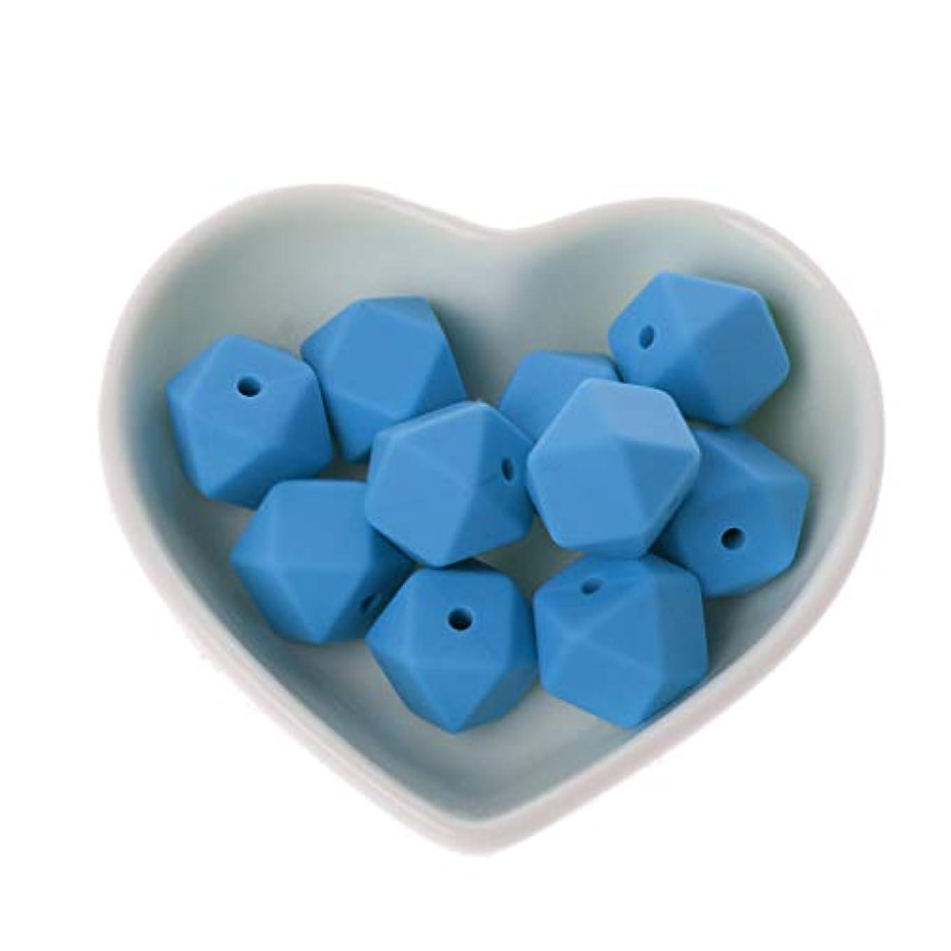 ゴージャス現象友情Landdum 10個シリコーンビーズ14ミリメートル多角形シリコーンビーズ赤ちゃんのおもちゃdiyおしゃぶりチェーンアクセサリー - ベイビーブルー