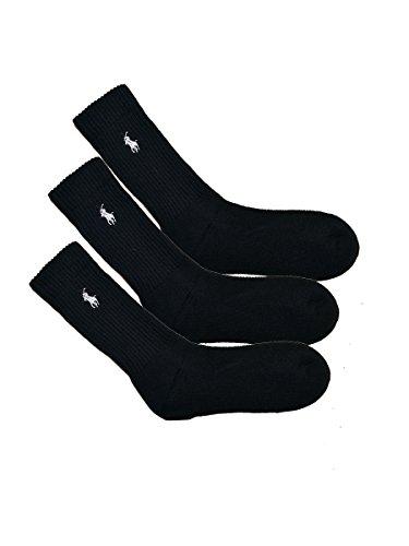 (ポロ ラルフローレン) POLO RALPH LAUREN レディース 靴下 ( 3足セット ) クッションフットメッシュトップ ハイソックス 黒 [23.0cm-26.5cm] [7310PKBK] [並行輸入品]