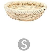 Fortem 収納バスケット かご 保管バスケット 雑貨 化粧品 スナック収納 籐製 手織り 多用途 おしゃれ 円形 (S)