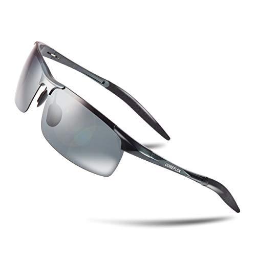 COREFLEX スポーツサングラス 偏光レンズ 超軽量・UV400・紫外線カット ランニング /スノボー/スキー/自転車/ドライブ/釣り/バイク グレー
