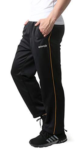 [ケイパ] ランニングウェア ジャージ ボトム ロングパンツ 吸水速乾 UVカット メンズ ガラ1(ブラック/ゴールド) M