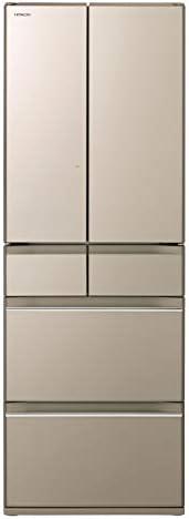 日立 冷蔵庫 520L 6ドア 強化ガラスドア 観音開き 日本製 幅65.0cm まるごとチルド R-HW52K XN プレーンシャンパン