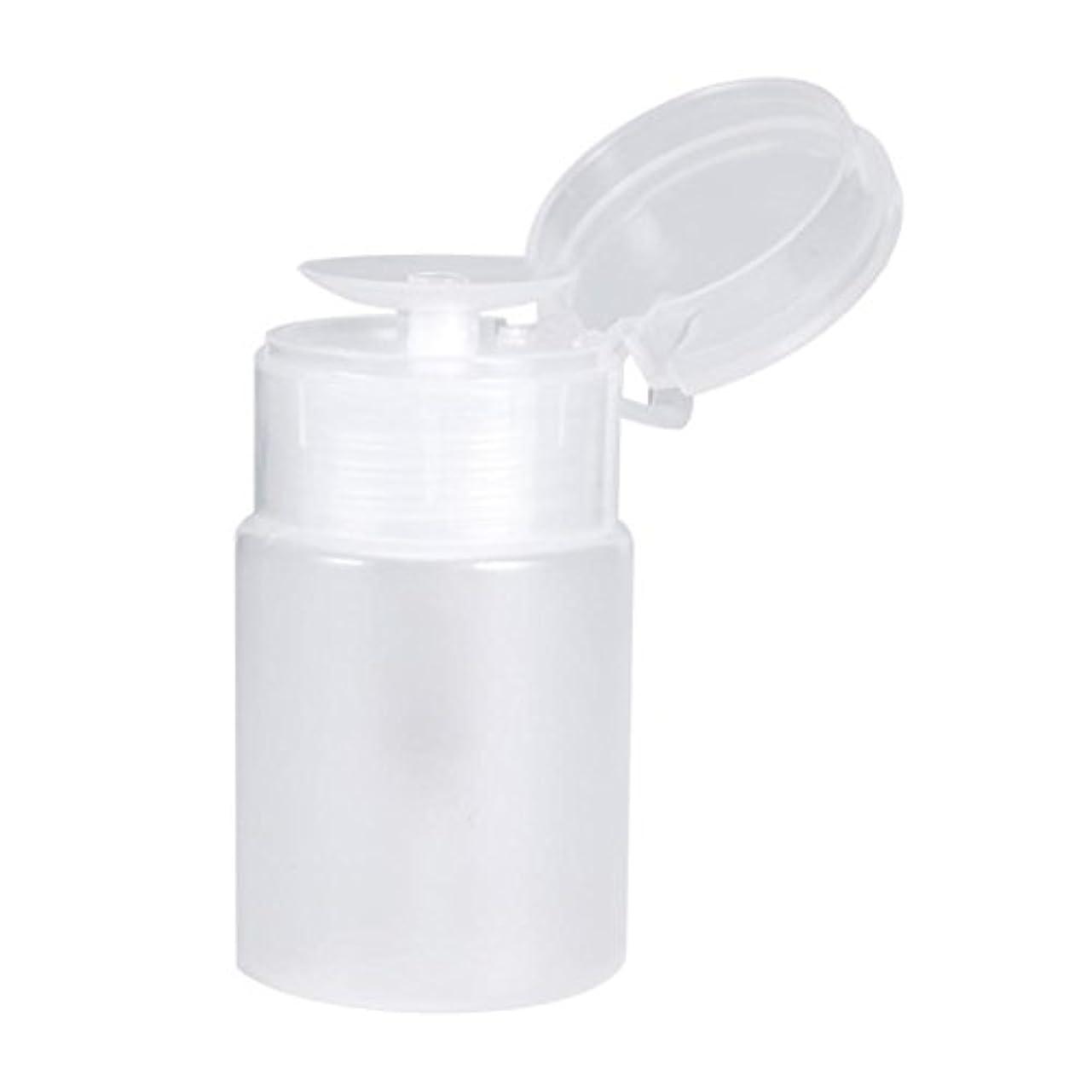 カリキュラム爆発同情的ネイルディスペンサーボトル、プッシュダウンディスペンサーネイルポリッシュリムーバーポンプ空のボトルディスペンサー液体ボトル容器60ミリリットル(白)