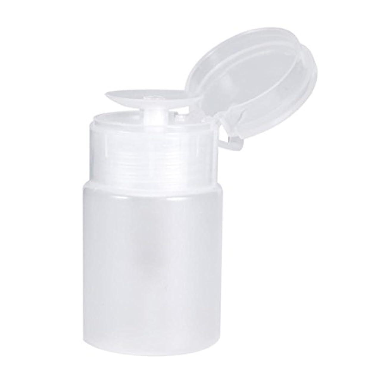 皿不足突撃ネイルディスペンサーボトル、プッシュダウンディスペンサーネイルポリッシュリムーバーポンプ空のボトルディスペンサー液体ボトル容器60ミリリットル(白)