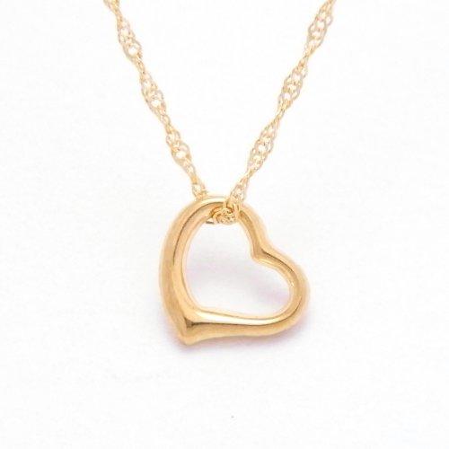 Open Heart 18金製 K18 gold ゴールド (日本製 Made in Japan) (金属アレルギー対応) オープンハート ペンダント スクリュー ネックレス ジュエリー (Amazon.co.jp 限定) [HJ] (45 センチメートル)