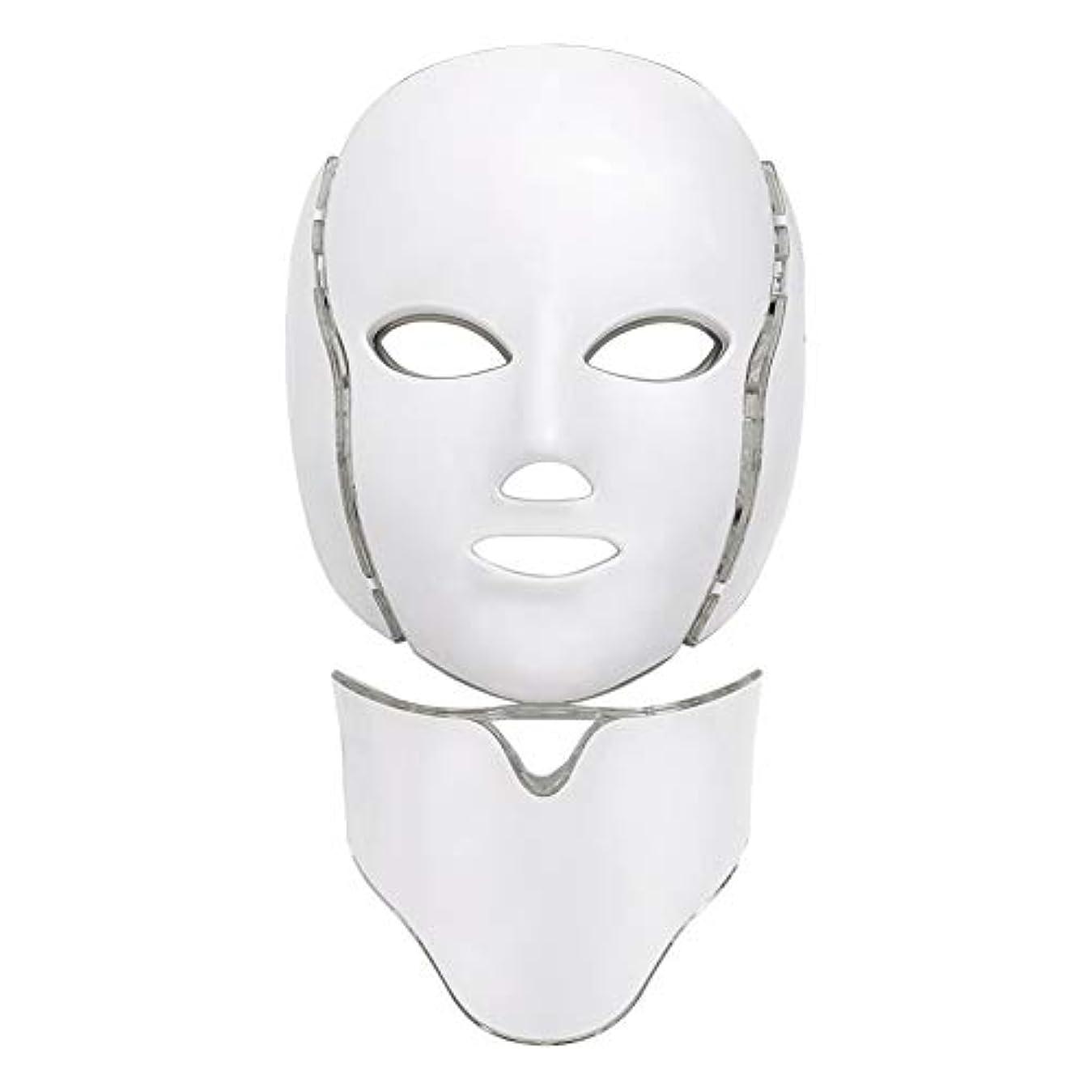 メディックオーバーヘッド将来の光療法フェイスマスク、LED光子療法7色光美容光療法治療マスク顔肌若返り顔PDT美容フェイシャルケア、顔首抗しわ顔にきび除去