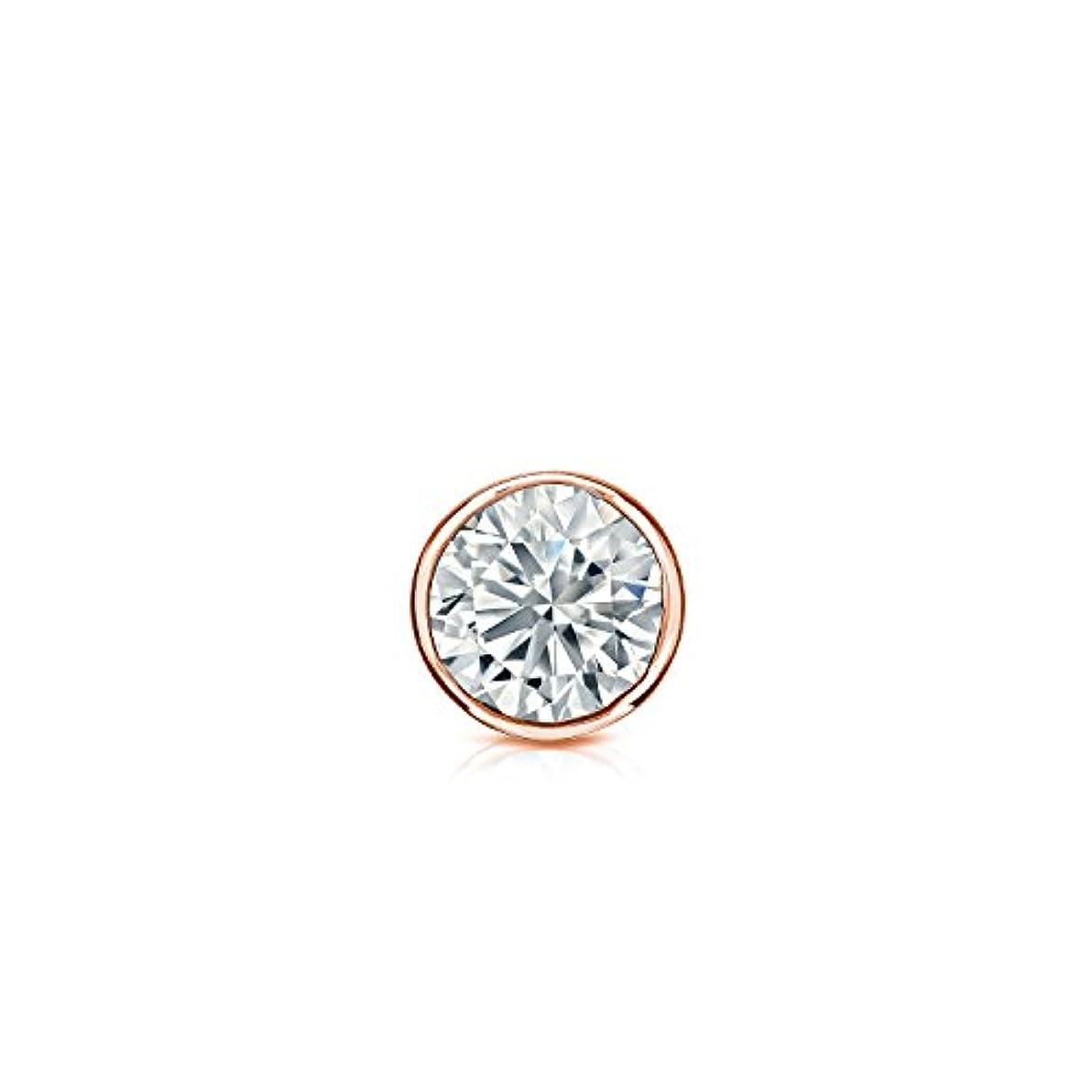 カストディアン最初は波14 Kゴールドメンズbezel-setラウンドダイヤモンドシングルスタッドイヤリング( 1 / 8 – 1 CT、Oホワイト、i2 - i3安全ロックバックディスク