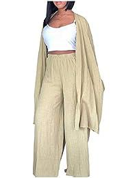 Romancly 女性コットンリネンブレンドワイドレッグパンツカーディガン2ピース衣装