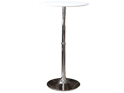 ラウンドバーテーブル レザー ホワイト ハイテーブル 高さ110cm WCHL-60-WH