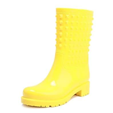 Phoenix's Shop おしゃれ レディース 美脚 長靴 レインブーツ オシャレ レインシューズ 防水 防滑 ロングブーツ 歩きやすい 雨靴 梅雨対策 通勤 通学 (22.5cm, イエロー)
