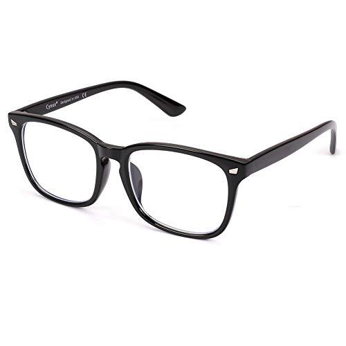 Cyxus(シクサズ)ブルーライトカットメガネ(透明レンズ)pcメガネ UVカット ウェリントンタイプ 紫外線カット パソコン用メガネ 輻射防止 視力保護 睡眠改善 目の疲れを緩和する 原宿眼鏡 ファッション男女兼用(黒縁)