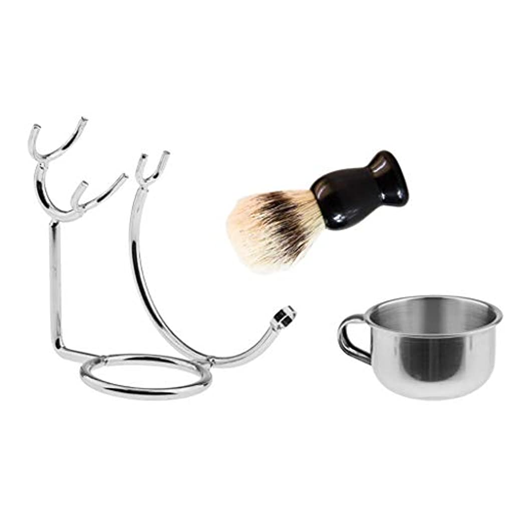 借りる平らな離婚dailymall 3本の浴室の男性理髪師シェービングブラシボウルマグカップスタンドホルダーセットキット
