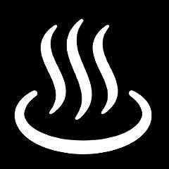温泉・風呂案内マークのカッティングステッカー・シール 光沢タイプ・耐水・屋外耐候3~4年【クリックポストにて発送】 (黒, 50)