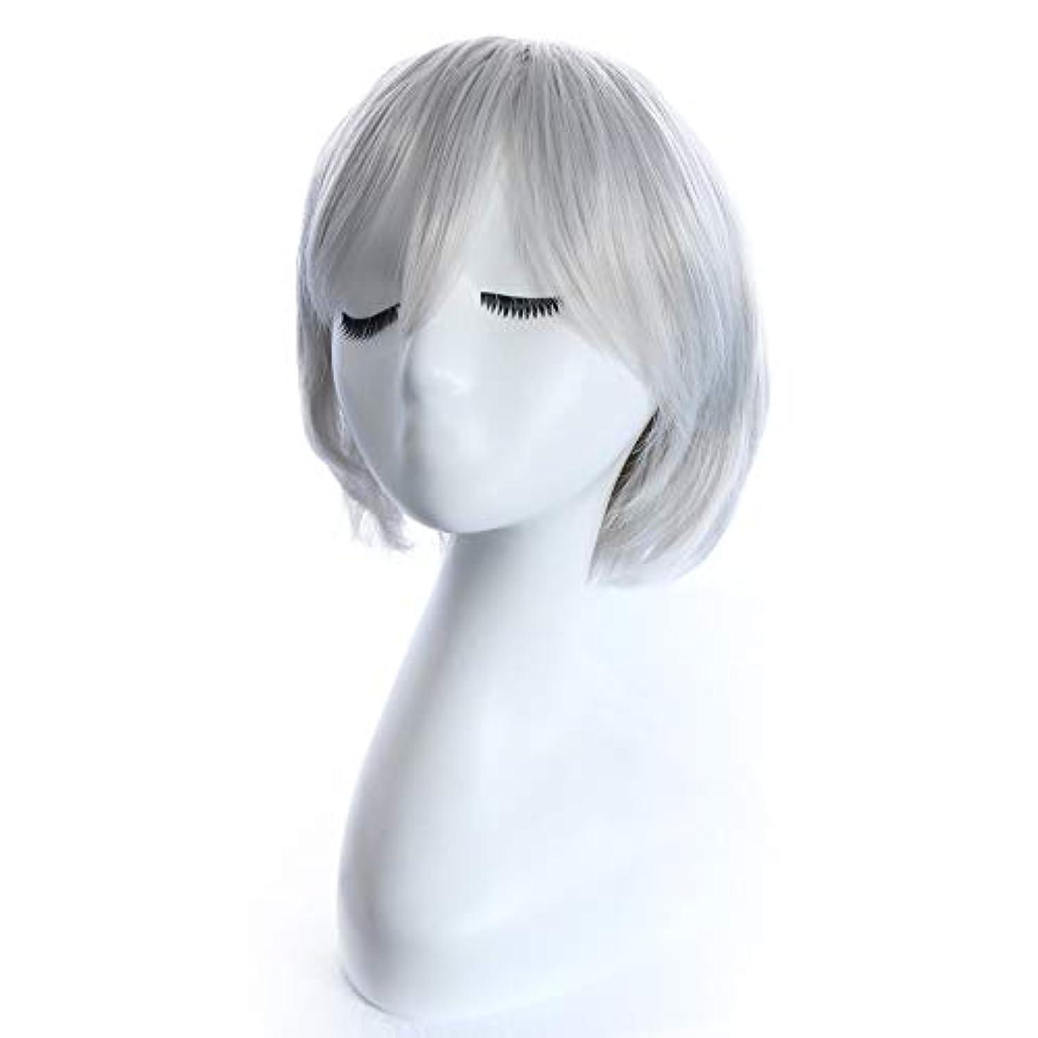 修復苦しめる日付女性のカラフルなコスプレ衣装のために前髪人工毛ウィッグ耐熱性繊維コスプレウィッグショートナチュラルストレートウィッグ (Color : 銀)