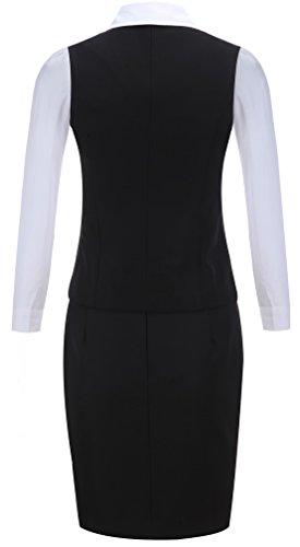激情女郎 olスーツ スカートスーツ リクルートスーツ レディース セット ビジネス 就活スーツ ベスト パンツ ブラック(ベスト+シャツ+スカート) M