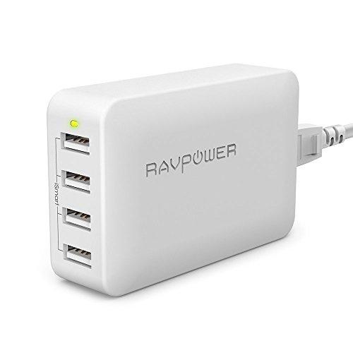 RAVPower USB 充電器 急速充電 [40W/4ポート] iPhone/iPad/Android 等対応 折畳式プラグ変換アダプタ,AC電源コード付 RP-UC07 白
