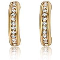 Italina Half Hoop Tiny Stud Earrings Cubic Zirconia Jewelry for Women Girls Fashion White CZ Stones Rhodium/Gold/Rosegold Plating