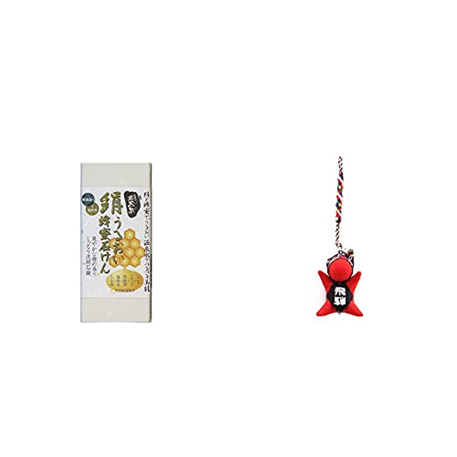 愛情のスコアメッシュ[2点セット] ひのき炭黒泉 絹うるおい蜂蜜石けん(75g×2)?さるぼぼ根付 【赤】/ ストラップ 縁結び?魔除け //