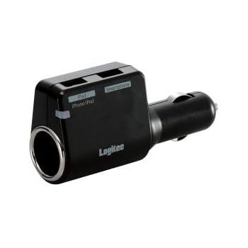 Logitec シガーチャージャー iPad/iPhone/iPod/スマートフォン対応 USB2ポート付 LPA-CC2U02S LPA-CC2U02S