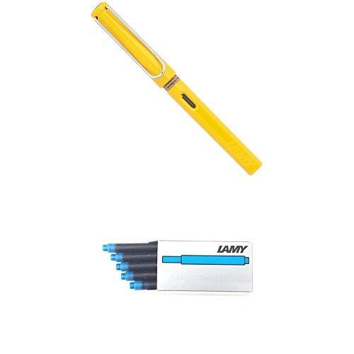 LAMY ラミー 万年筆 ペン先EF(極細字) サファリ イエロー L18-EF 両用式 コンバーター別売 正規輸入品+LAMY ラミー カートリッジインク ターコイズ LT10TQ 20箱セット 正規輸入品