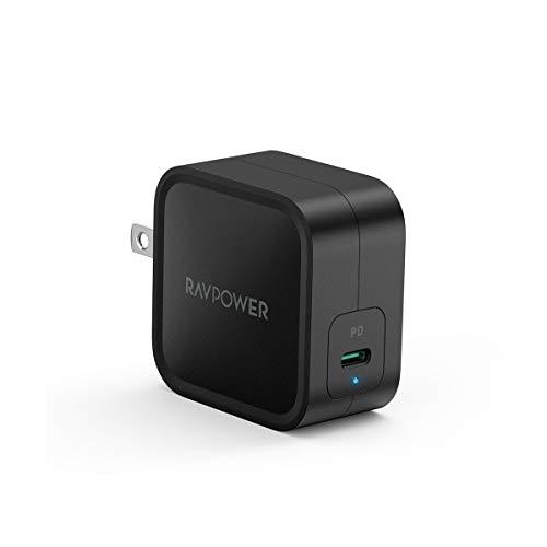 RAVPower 61W USB-C 急速充電器(最小 最軽量クラス/2019年8月時点)【GaN (窒化ガリウム) 採用/折畳式/PD 3.0対応】iPhone XS/XS Max/XR/X、GalaxyS9、MacBook Pro、iPad Pro、Nintendo Switchその他USB-C機器対応 RP-PC112(ブラック)