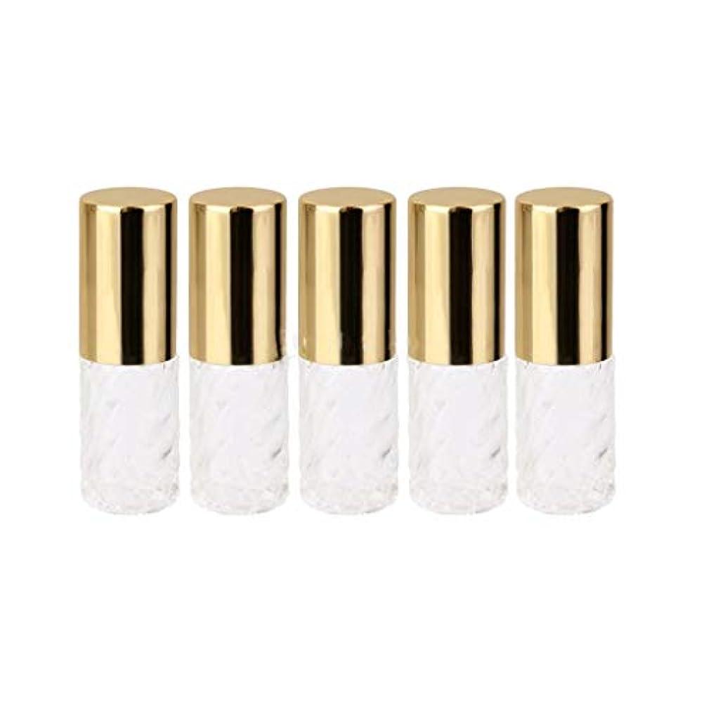 適応的ネコアーサー5ピース   5ml ガラスローラーボトル 透明な交換旅行 空のロールオン ガラス香水瓶